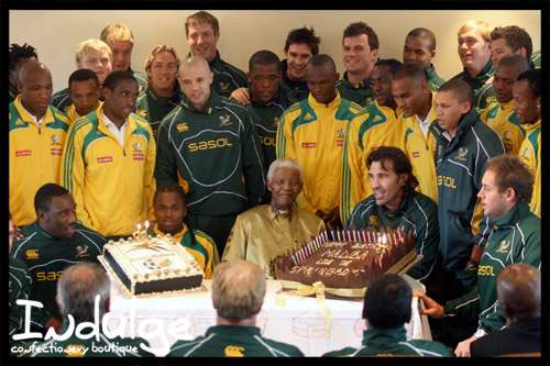 springboks with nelson mandela and his birthday cake designed by indulge