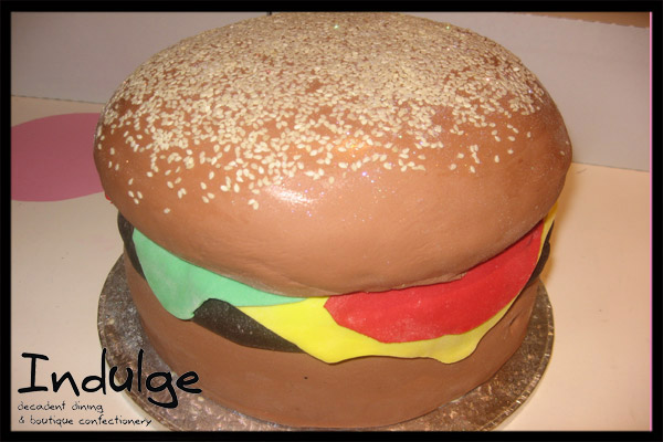 Hamburger Cake - Tiered cake with sugar paste icing or butter icing and decorated with edible sugar paste figurines